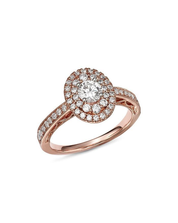 Diamond Double Halo Engagement Ring in 14K Rose Gold, 1.0 ct. t.w. - 100% Exclusive