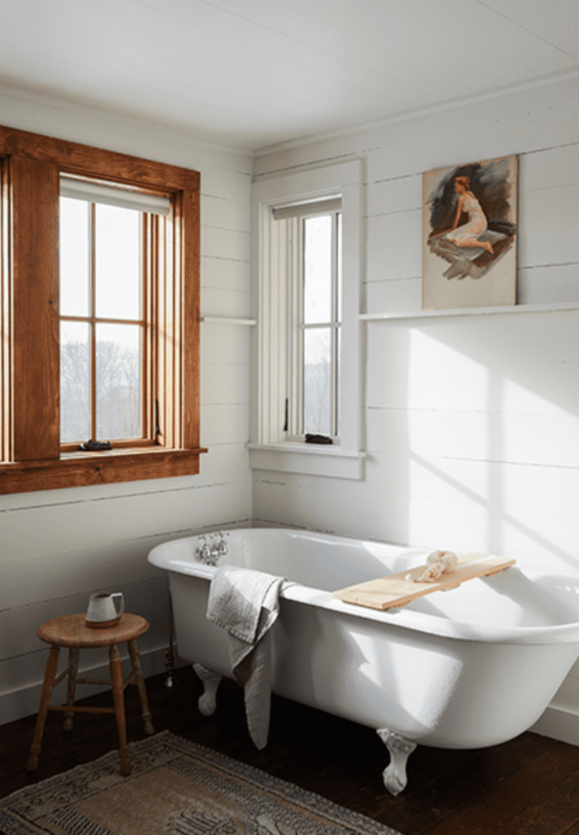 Rustic bathroom with standing tub