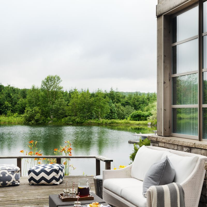 Outdoor seating next to a lake