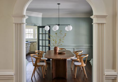 connecticut farmhouse home tour - dining room with mint walls