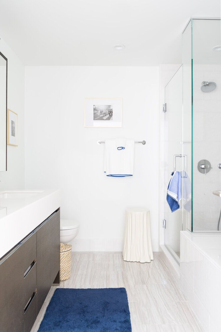 Shower with tub and glass door