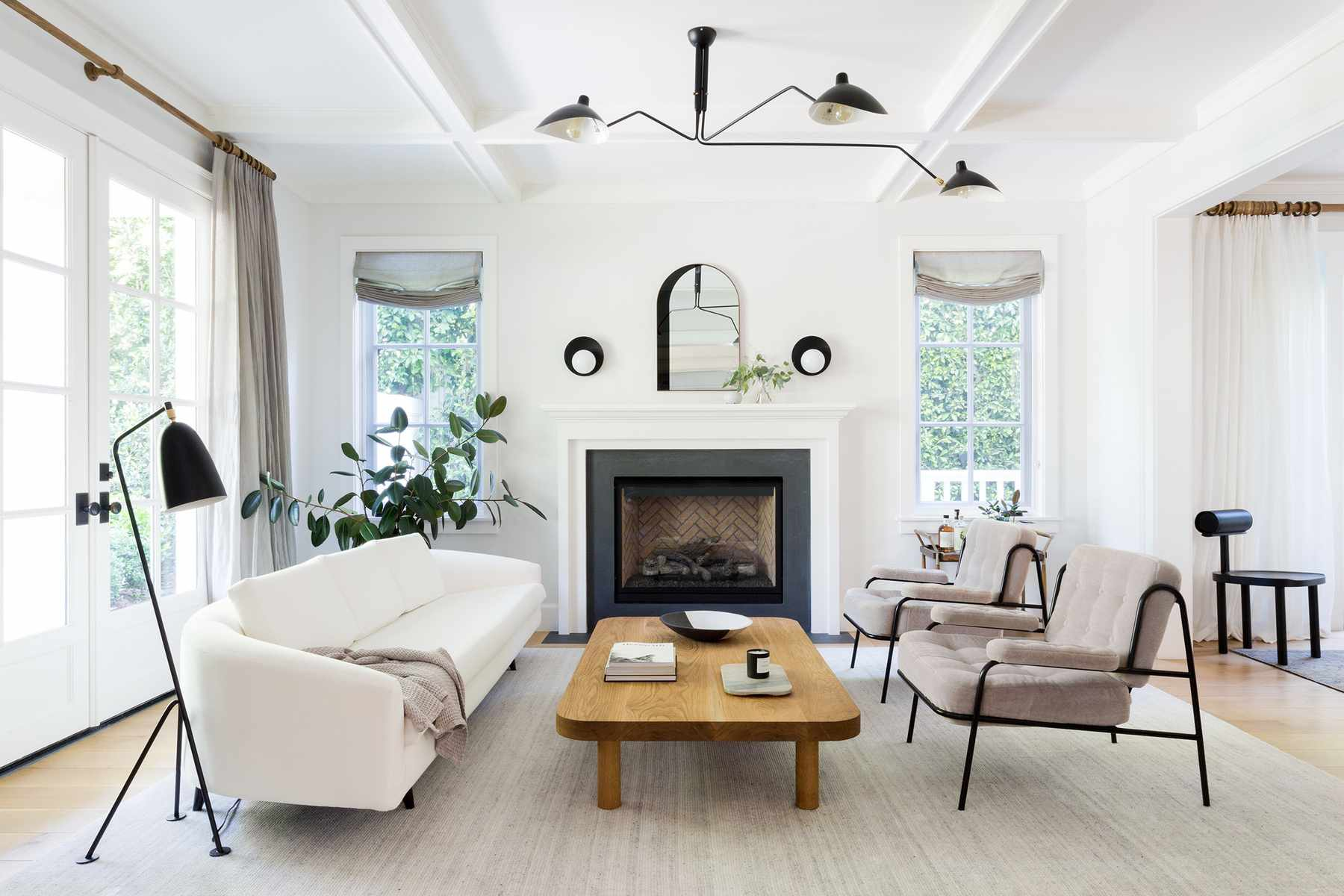White living room with modern accents.