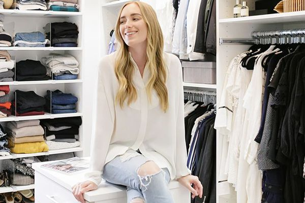 Fashion blogger in her redesigned closet
