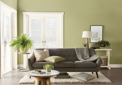 Living room with green walls and gray sofa
