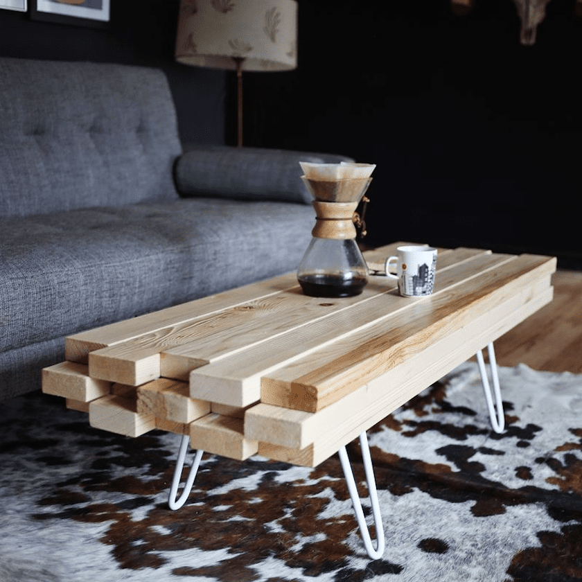 2X4 DIY coffee table in living room
