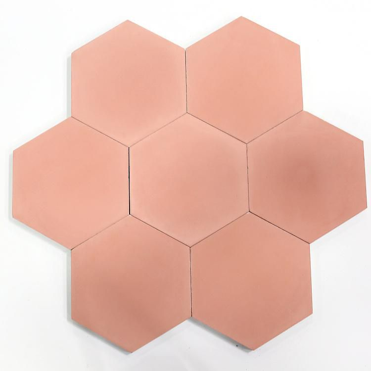 Red Clay Solid Hex—Bathroom Tiles