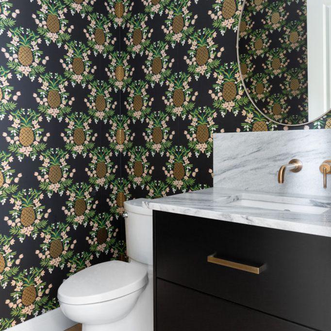 maximalist bathroom with wallpaper