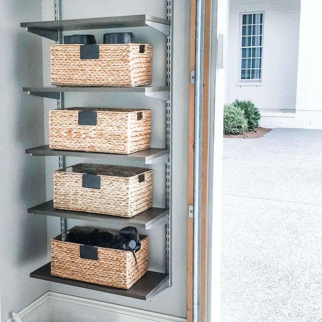 Baskets on a wall unit