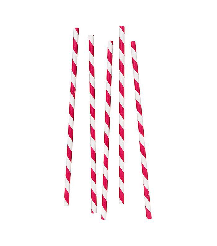 Cupture Red & White Color Striped Straws