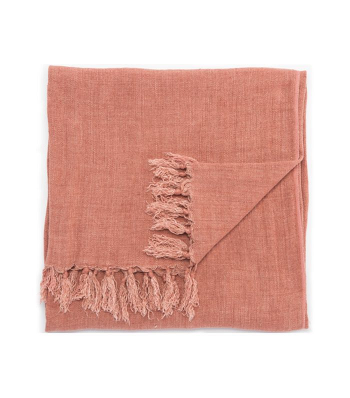 Lulu and Georgia Malea Linen Throw in Mocha Mousse