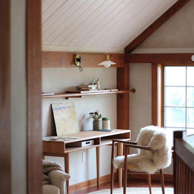 Attic space with a desk