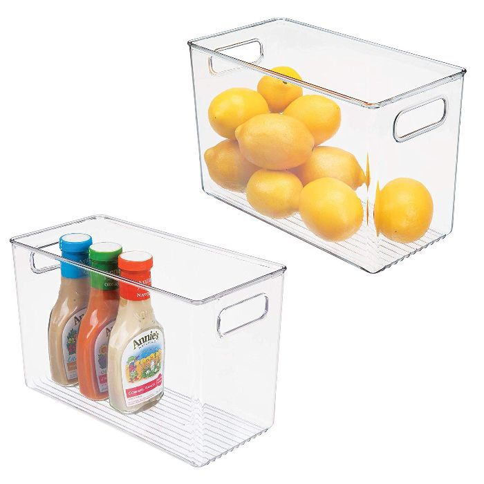 mDesign Plastic Food Storage Container Bin with Handles
