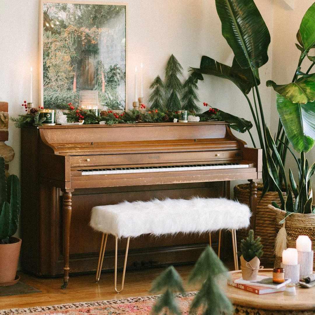 Lush greenery with Christmas decor.