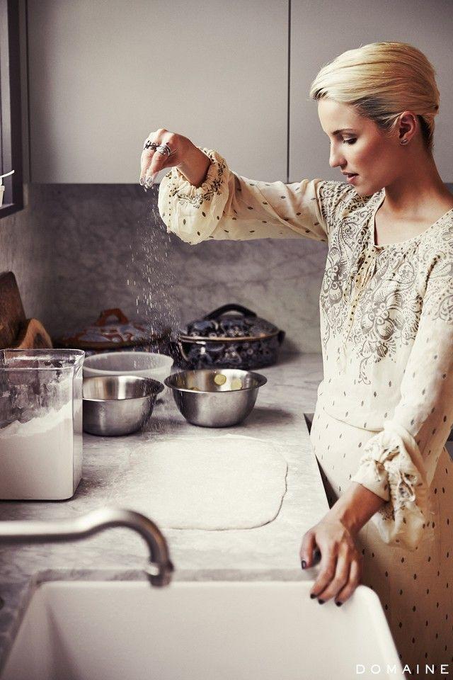 Diana Agron in her kitchen