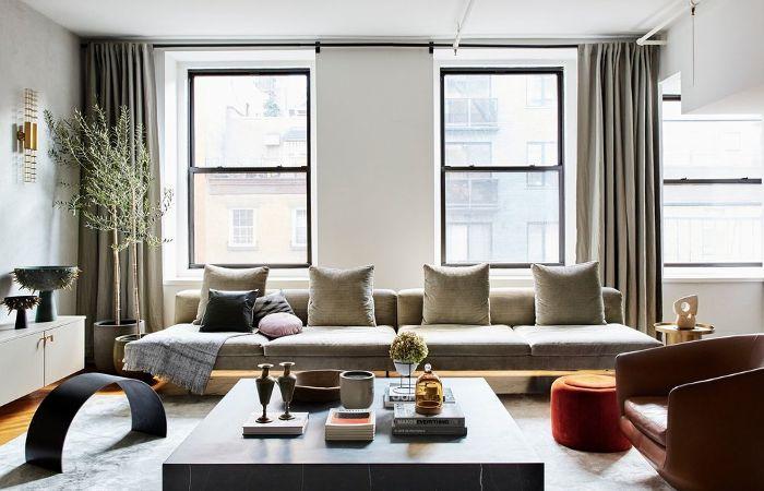 a neutral, modern living room