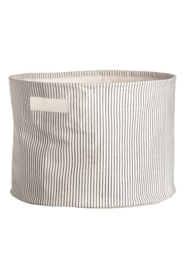 - Cotton Twill Storage Basket - Natural white/gray striped - H & m Home