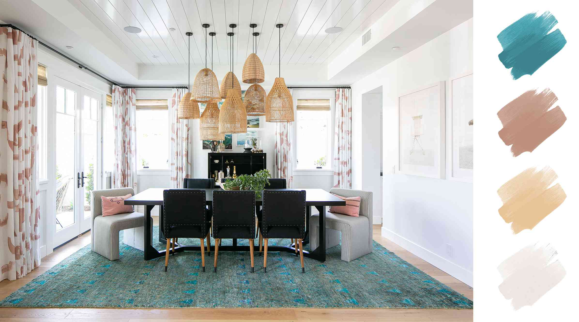 complementary color schemes - blue and orange dining room
