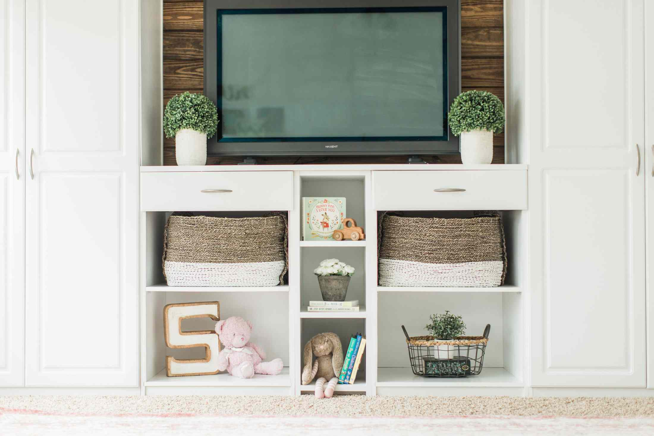 White play room with shelves