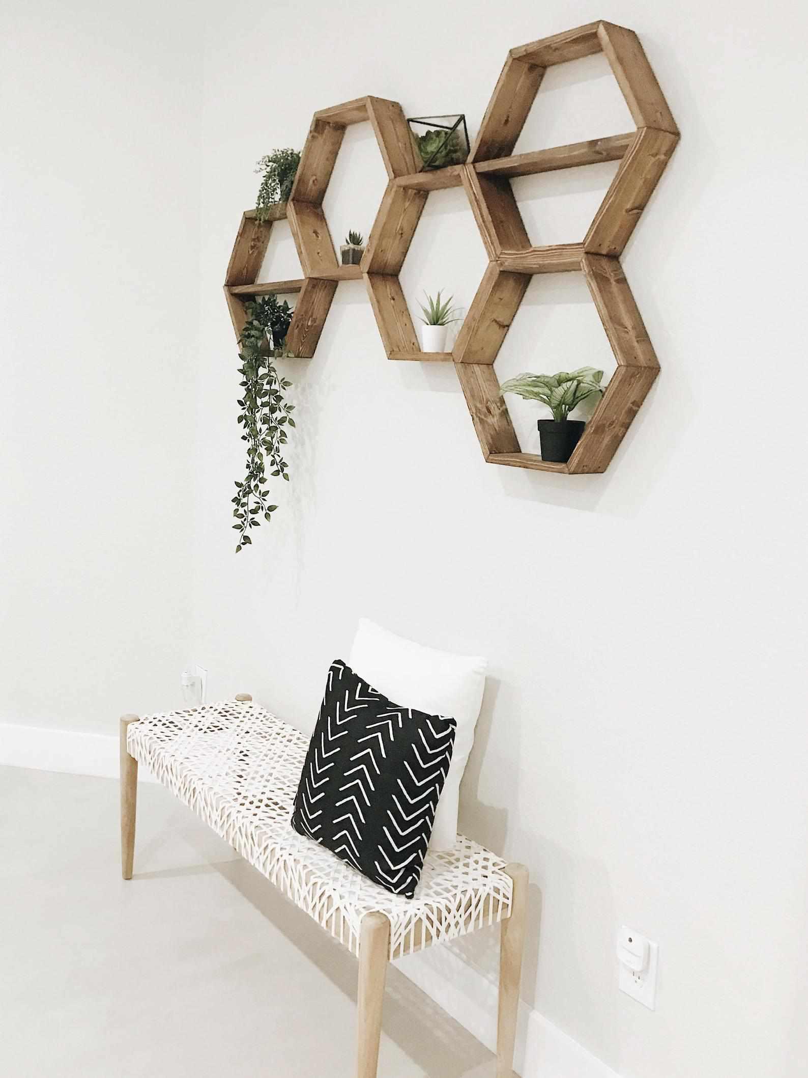 floating hexagon shelves