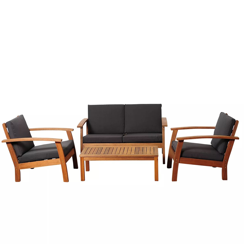 Valencia Eucalyptus Patio Deep Seating Set with Black Cushions