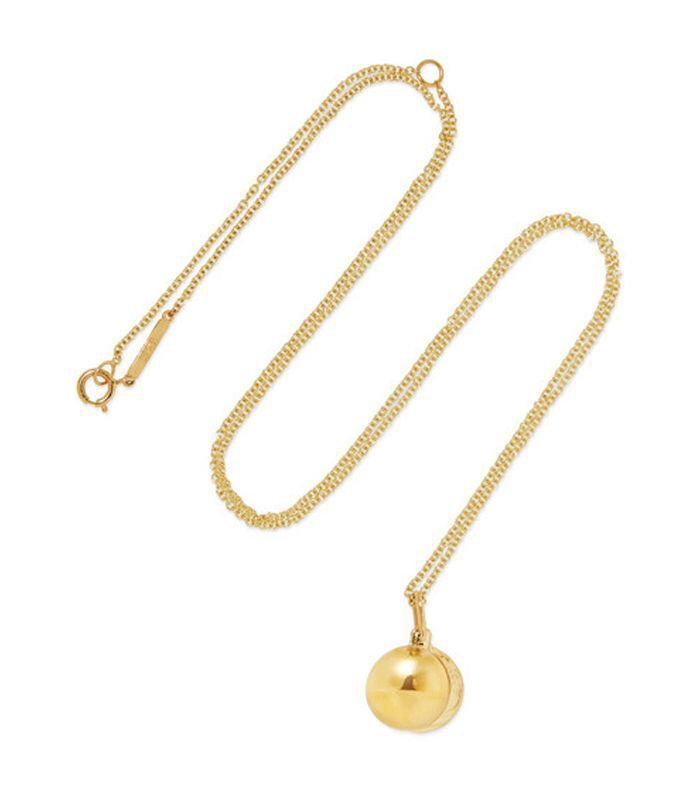 Petite O Locket 14-karat Gold Necklace