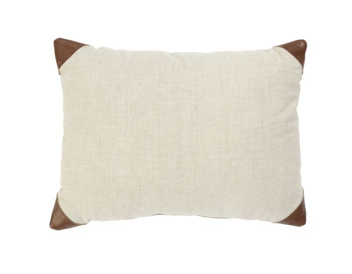 Threshold Tan Leather Trim Linen Oblong Decorative Pillow
