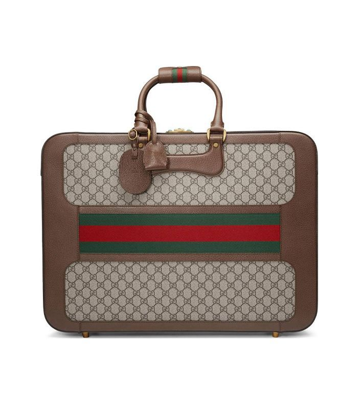 Large Echo Gg Supreme Canvas & Leather Suitcase - Beige