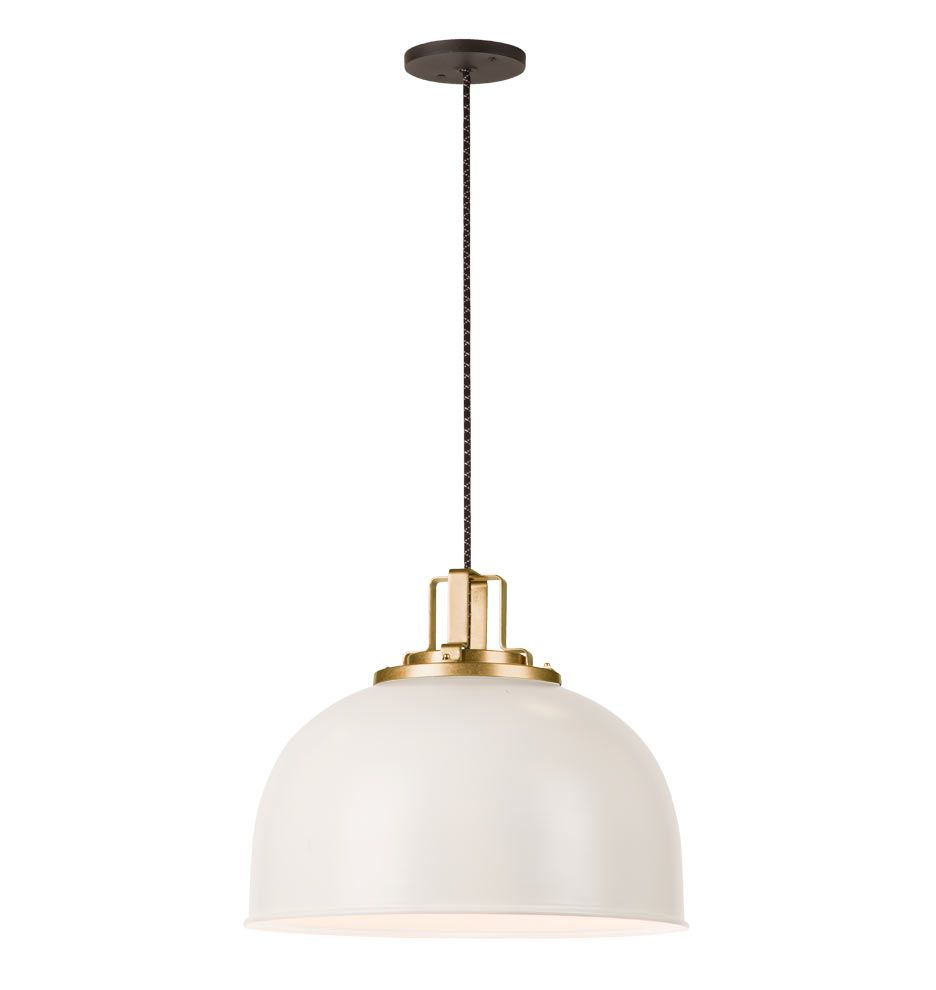 Butte 18-Inch Dome Aged Brass Pendant