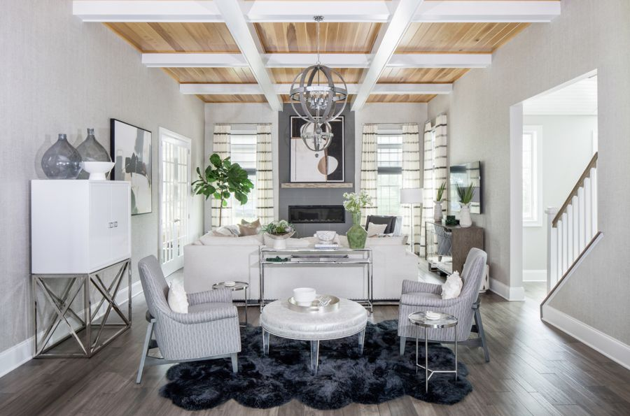 Sitting room with coffered ceilings