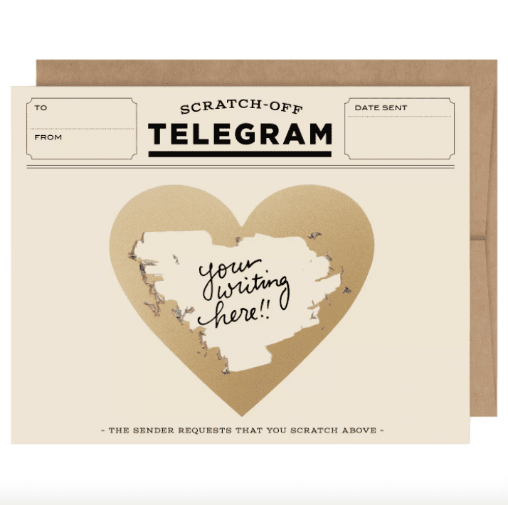 6ct Classic Telegrams Scratch-off Greeting Cards