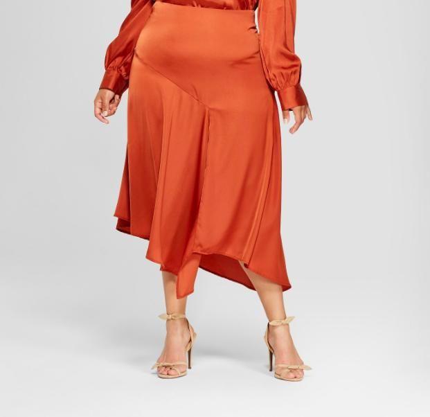 Women's Plus Size Seamed Asymmetric Hem Slip Skirt - Who What Wear™