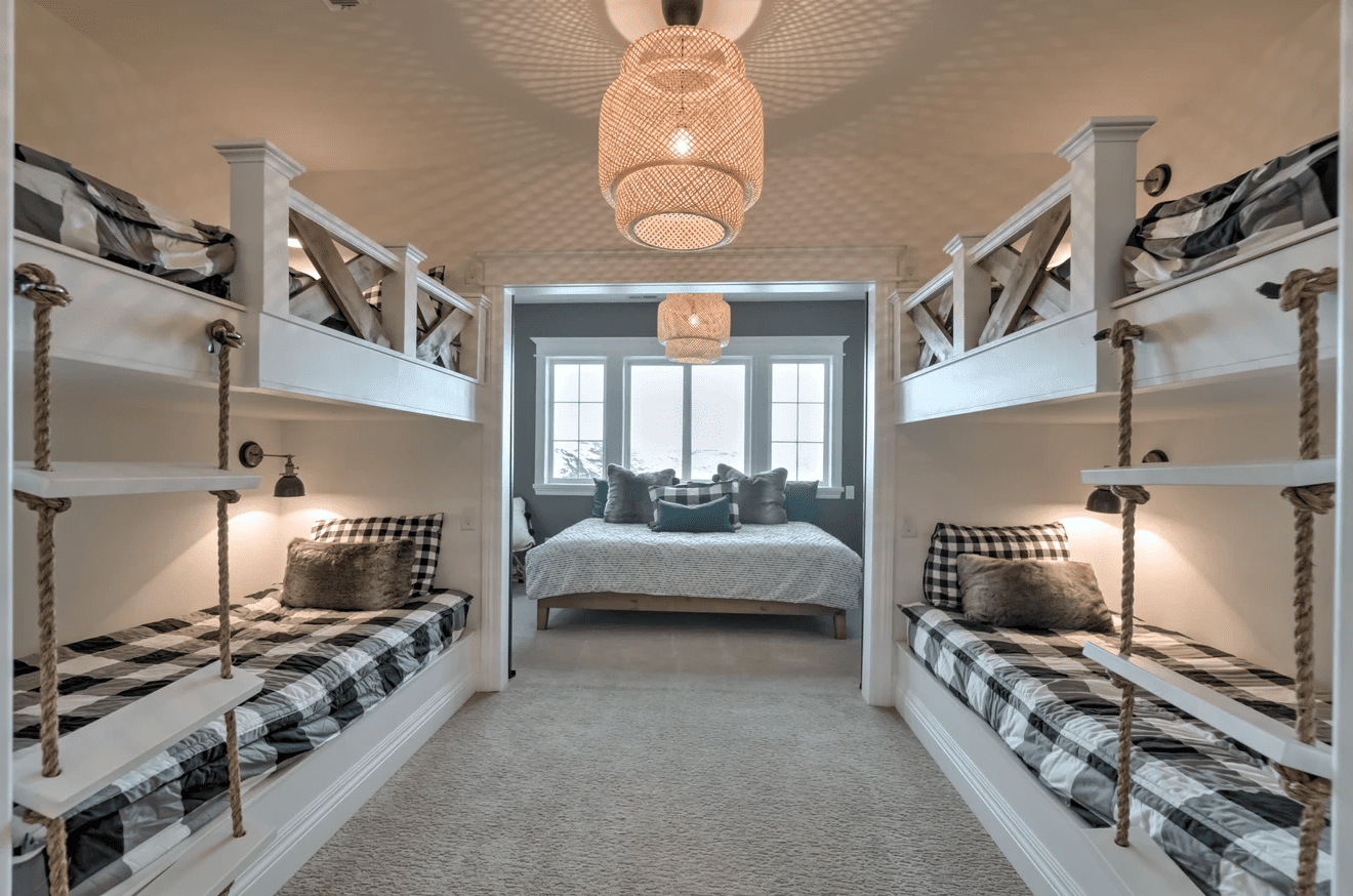 Bedroom with lots of bunk beds