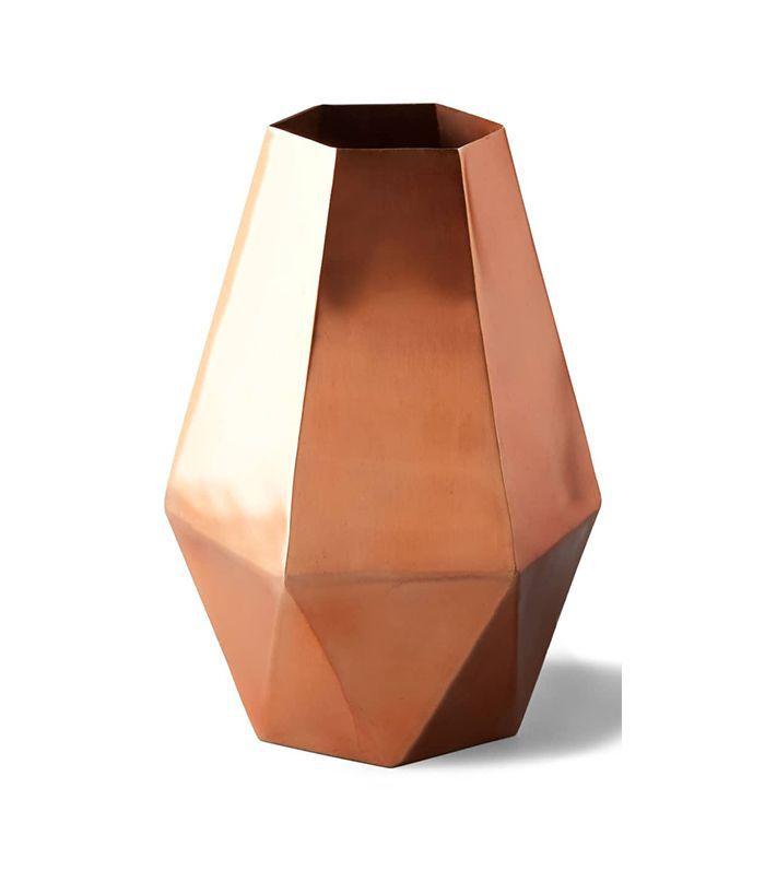 Anthropologie Faceted Hexagon Metal Vase
