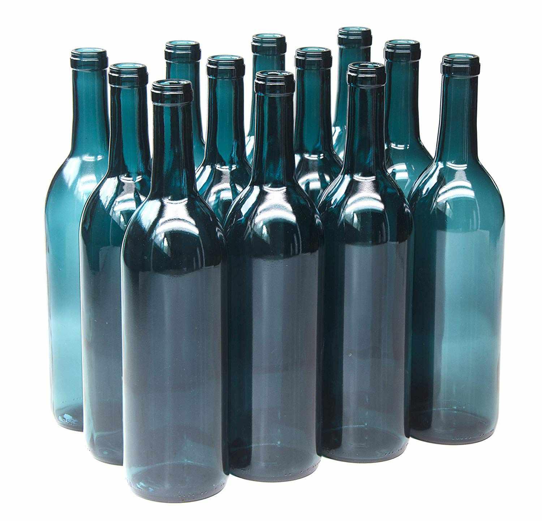 blue wine bottles