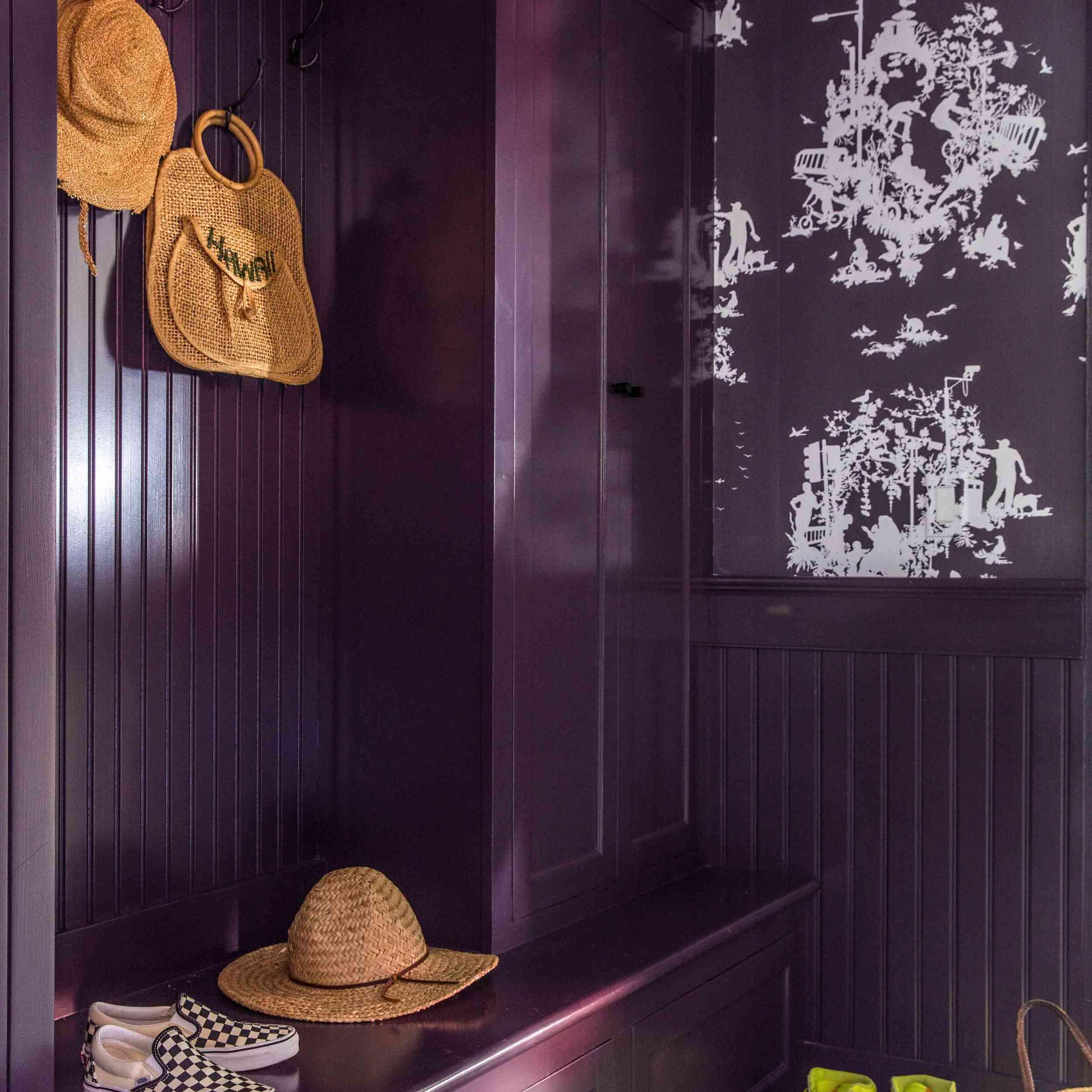 Mudroom with purple wood panelling