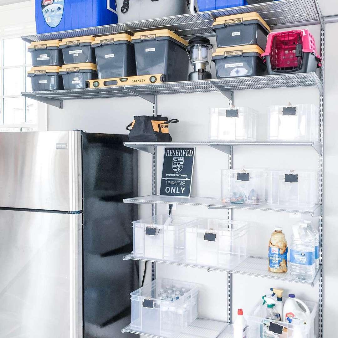 Garage with clear bin storage