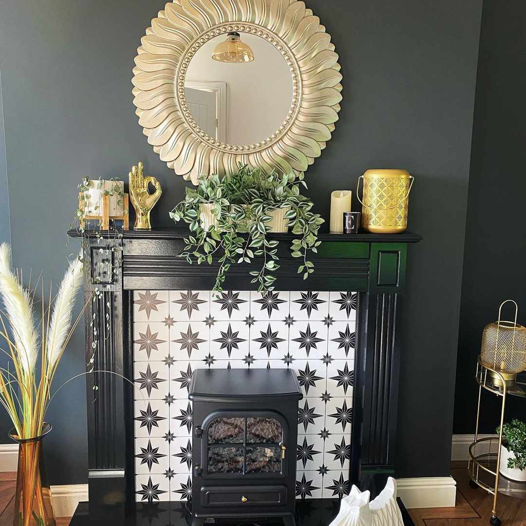 Fireplace with starburst tile