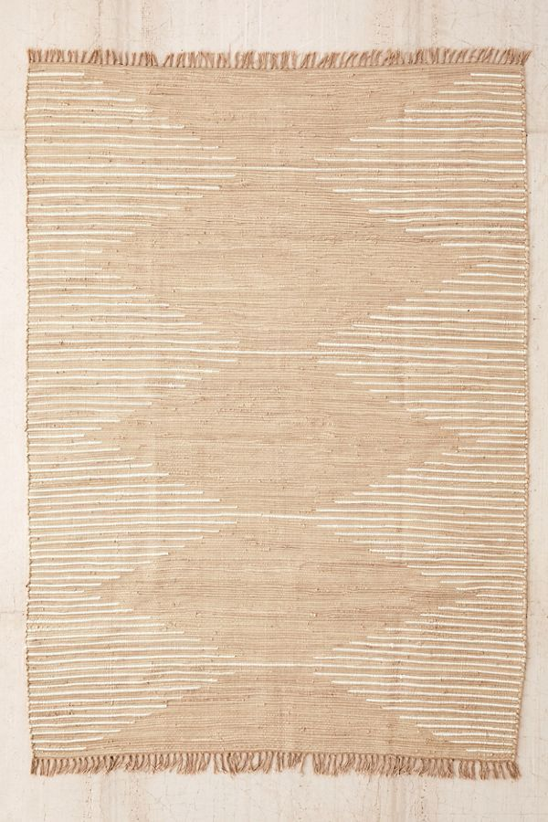 Connected StripeRag Rug - Black 3 X 5 at Urban Outfitters