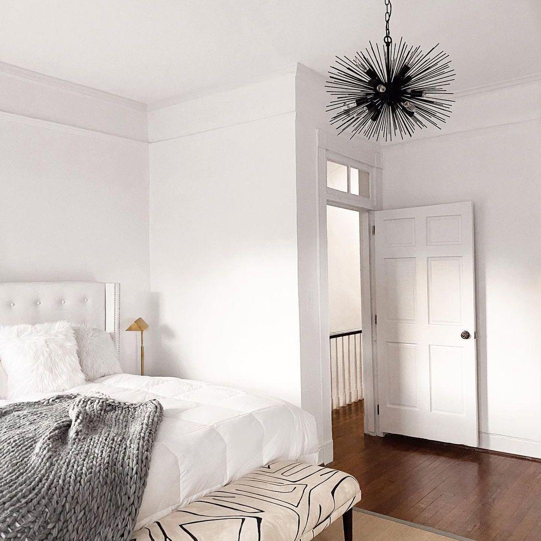Bedroom with Sputnik-style lamp