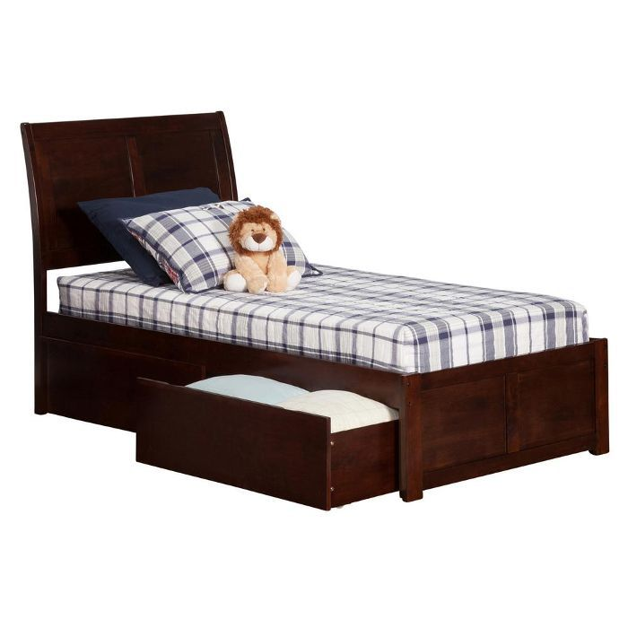 Atlantic Furniture Portland Walnut Twin Platform Bed with Flat Panel Foot Board and 2-Urban Bed Drawers