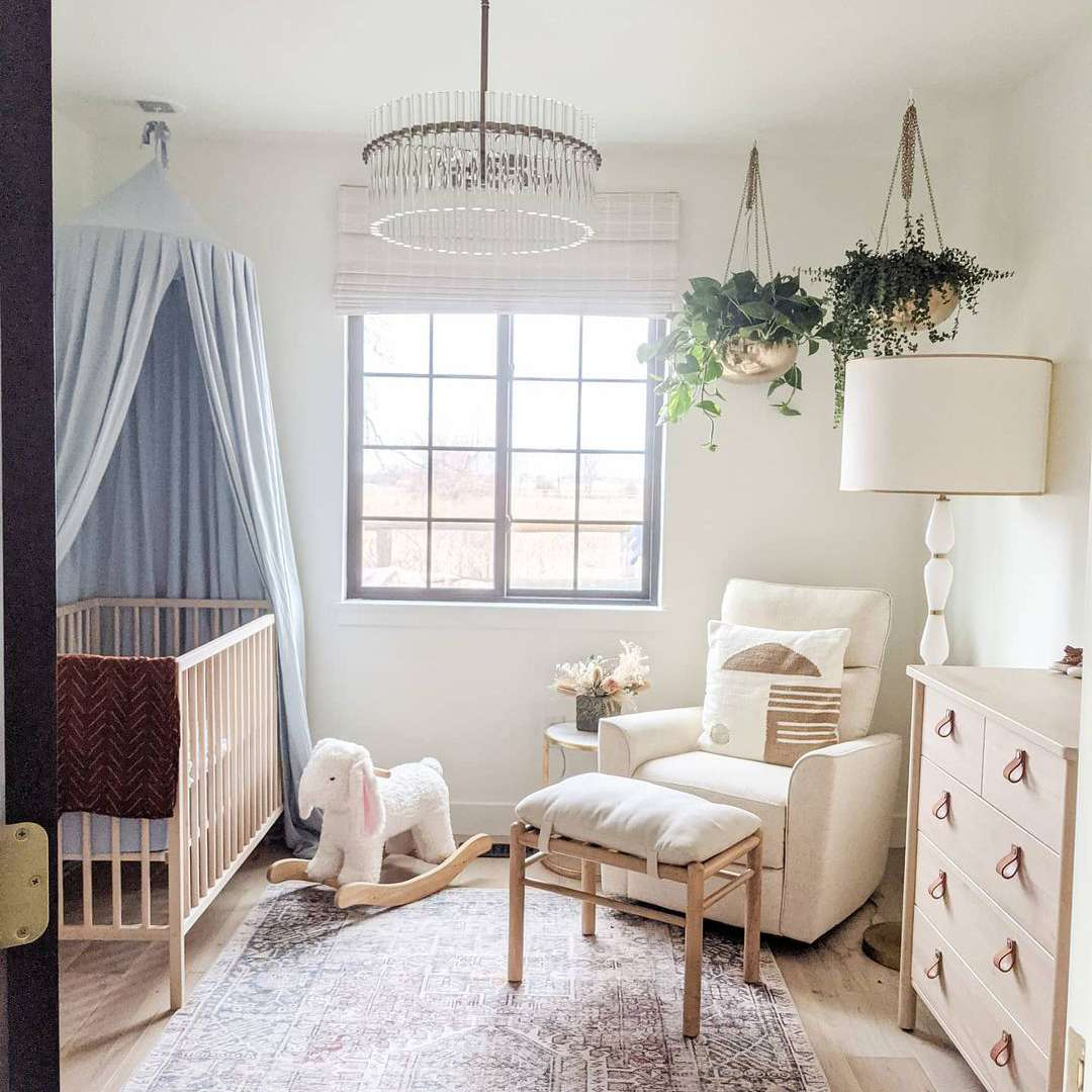 Nursery with light blue accent