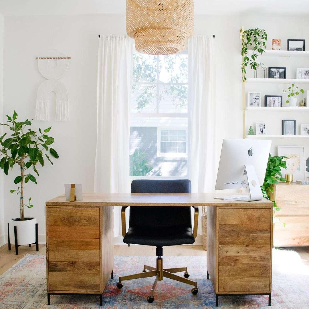 Boho and wood office