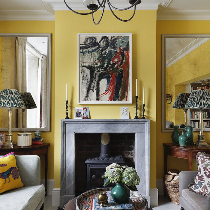 yellow eclectic living room