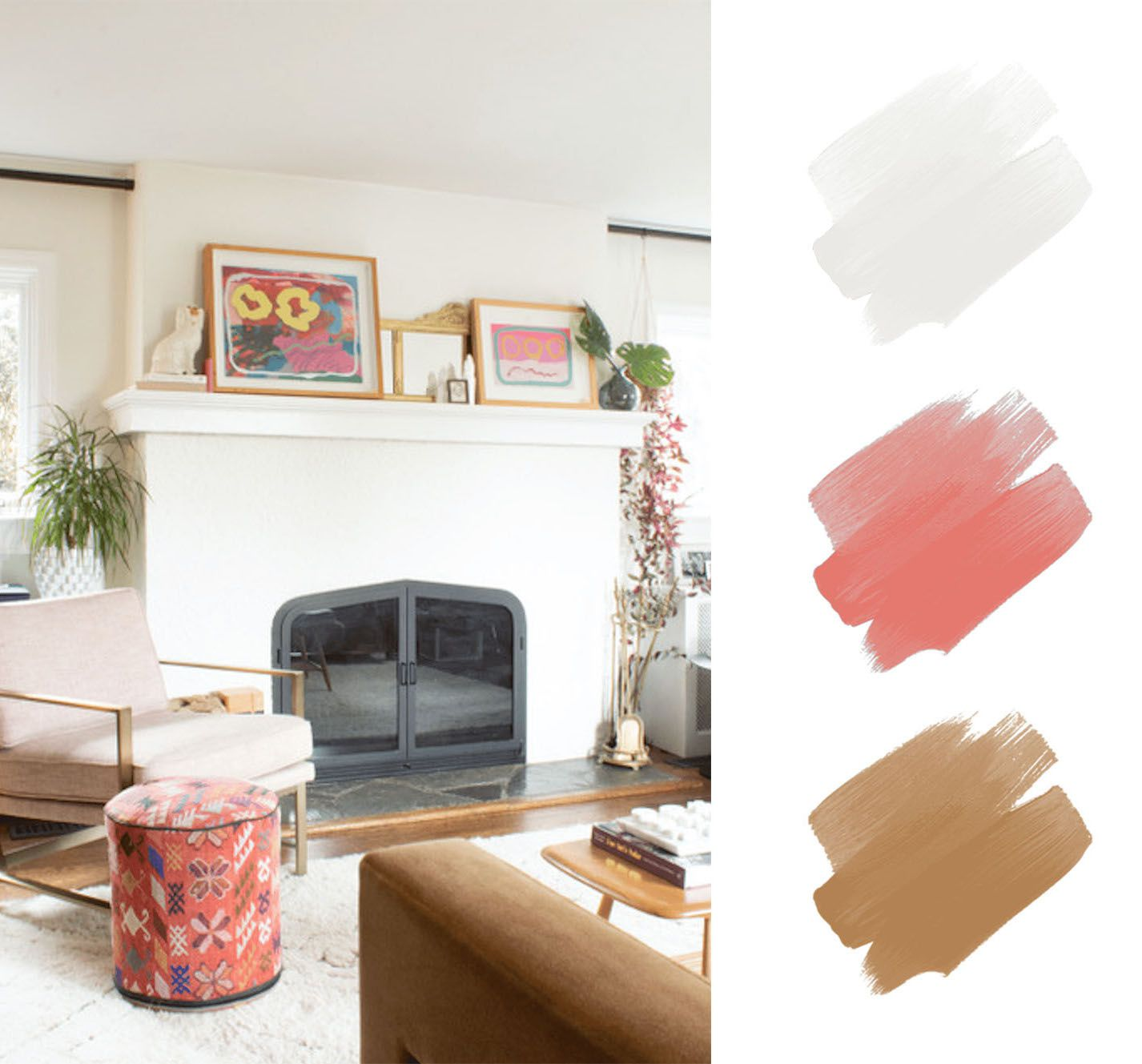 best interior color schemes - pink and tan and white