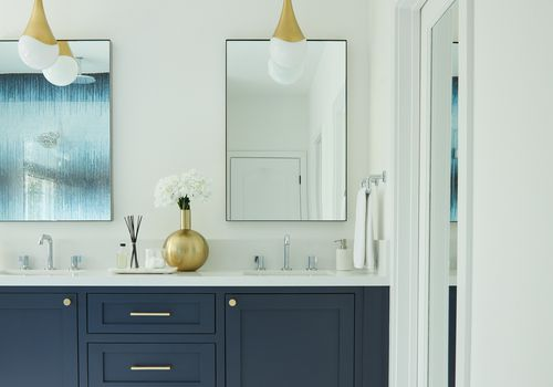 Makeover of the Week - Amy Elbaum navy blue bathroom