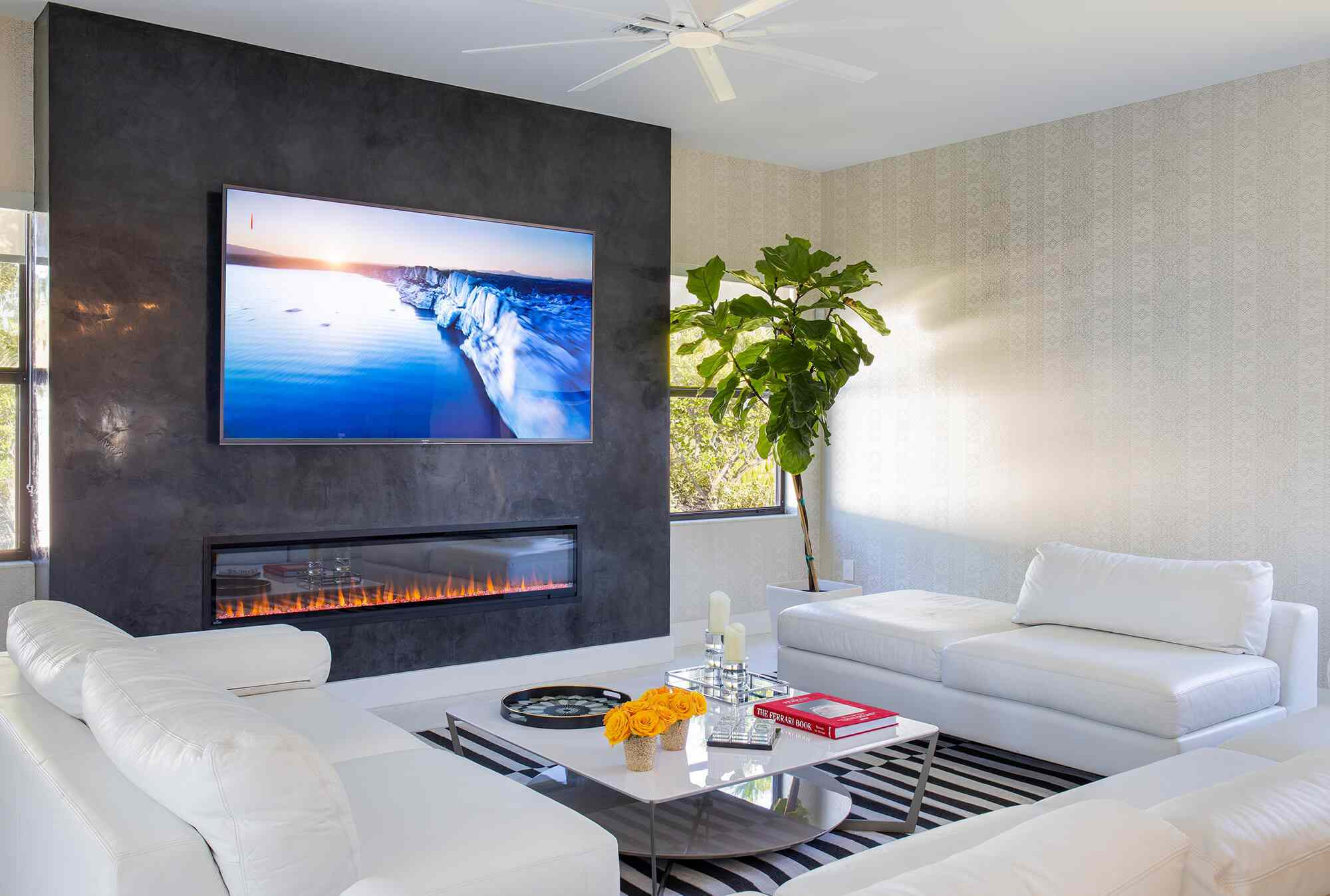 Sleek and contemporary living room with modern fireplace