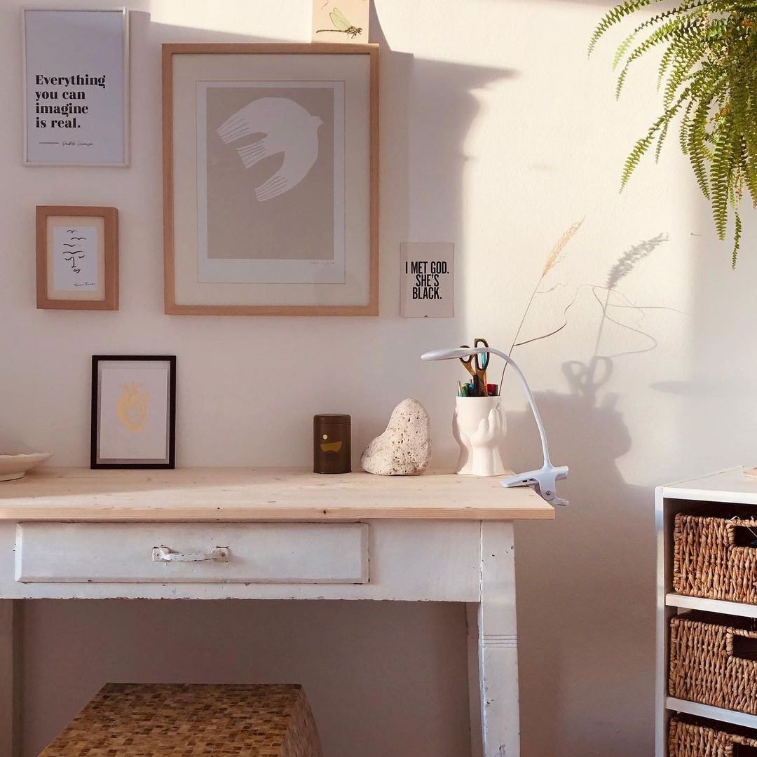 White desk with wood accents
