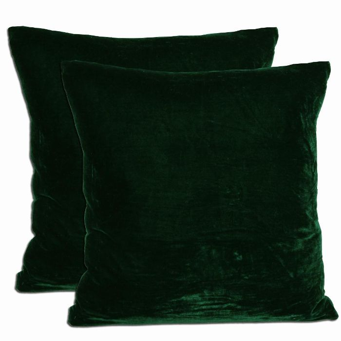 Overstock Green Velvet Feather and Down Filled Throw Pillows, Set of 2
