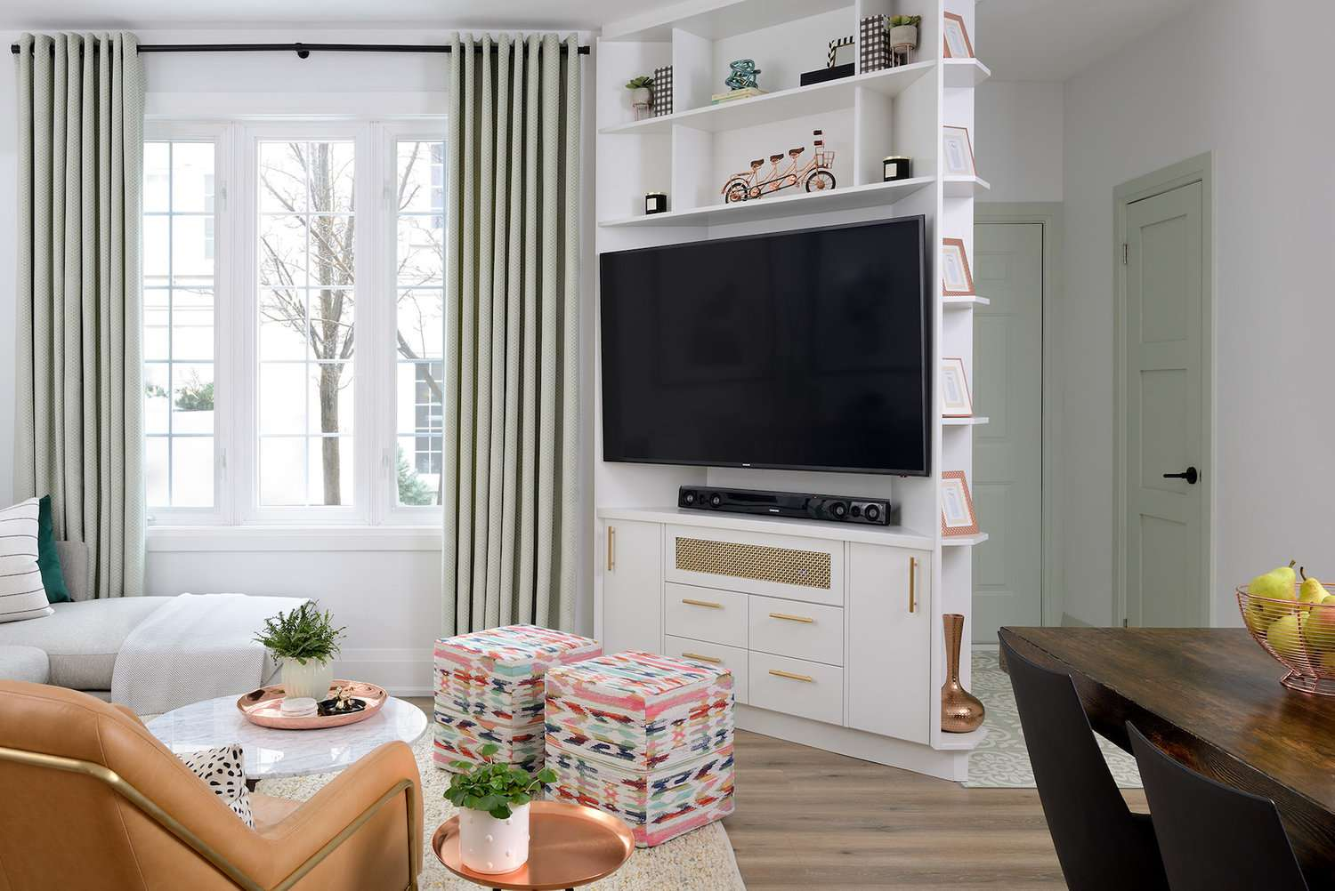 Living room with mint green curtains