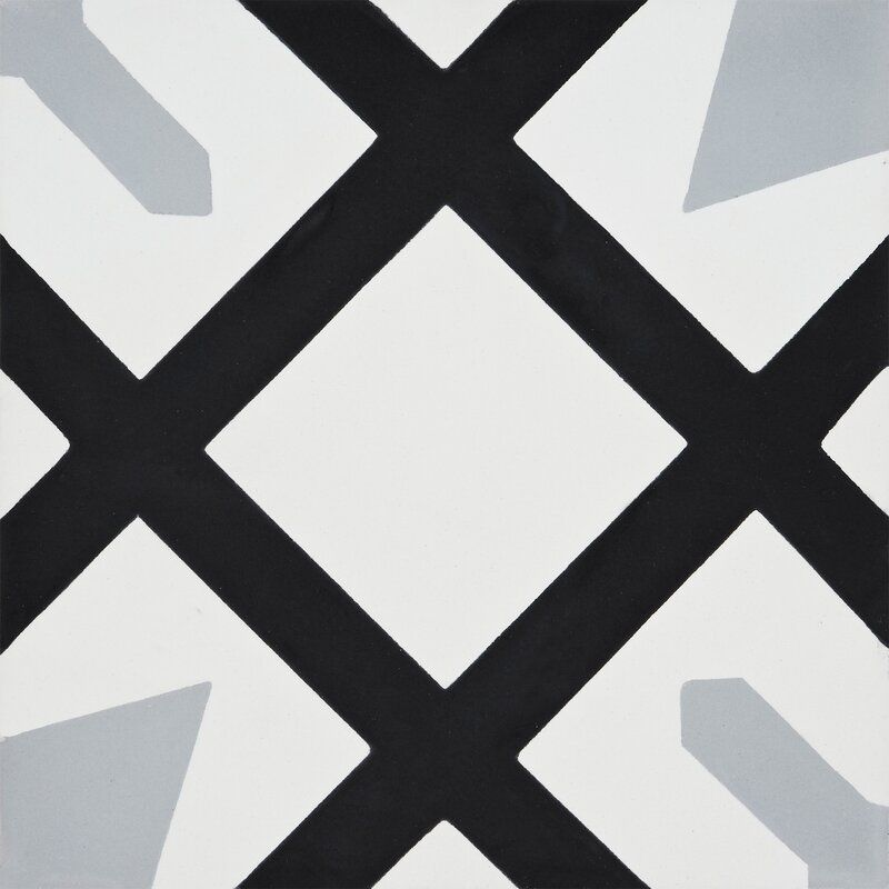 A black, white, and gray printed tile